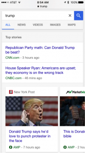 Google mobile search AMP example