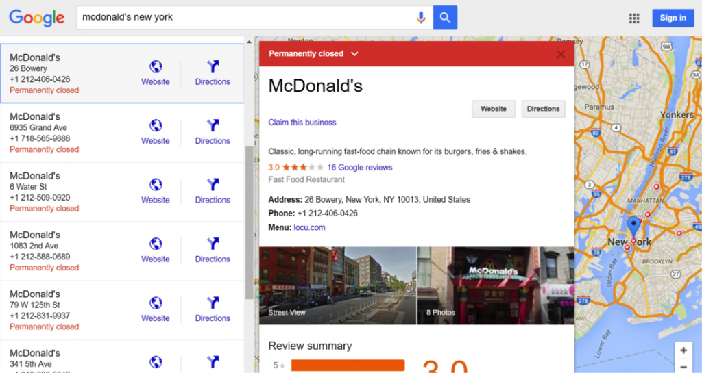 Screenshot of McDonald's relocation