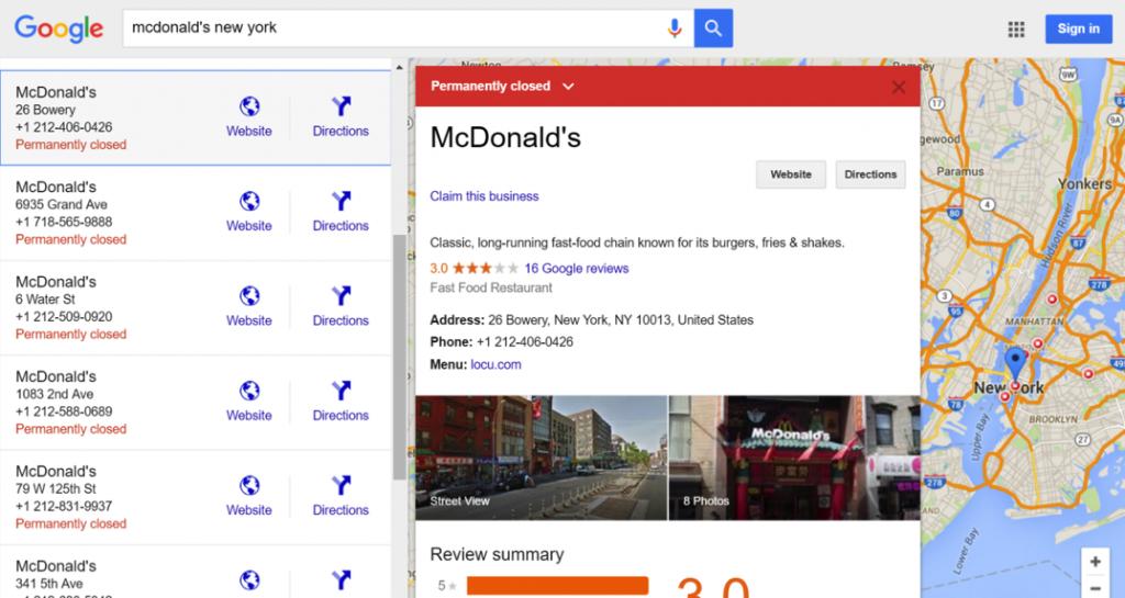 Screenshot of McDonald's relocation