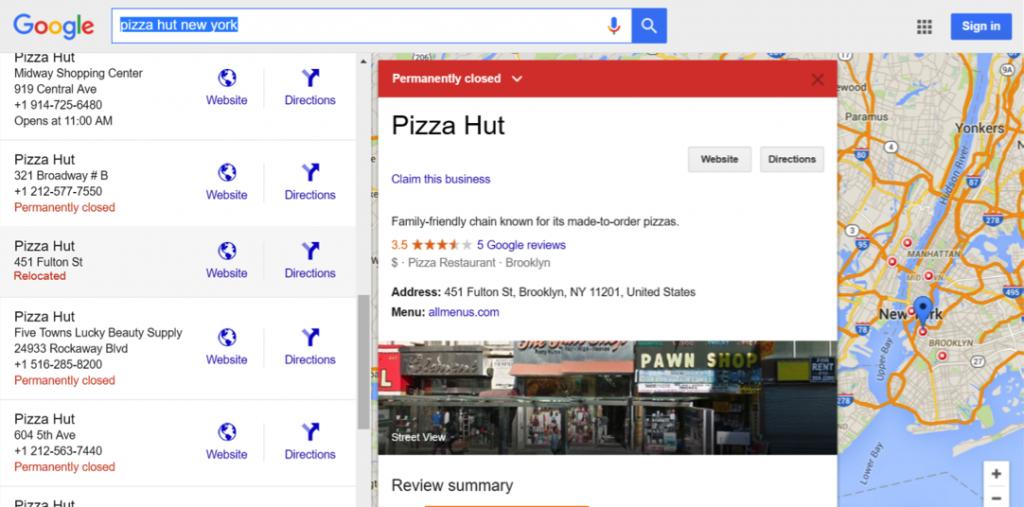 Screenshot of pizza hut relocation on Google