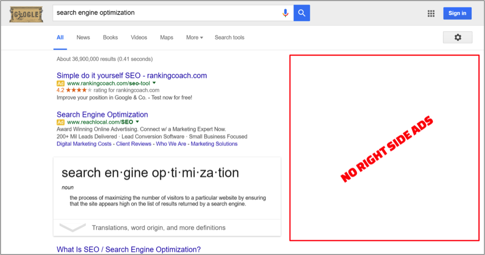 screenshot of no right-side ads on Google Search Engine