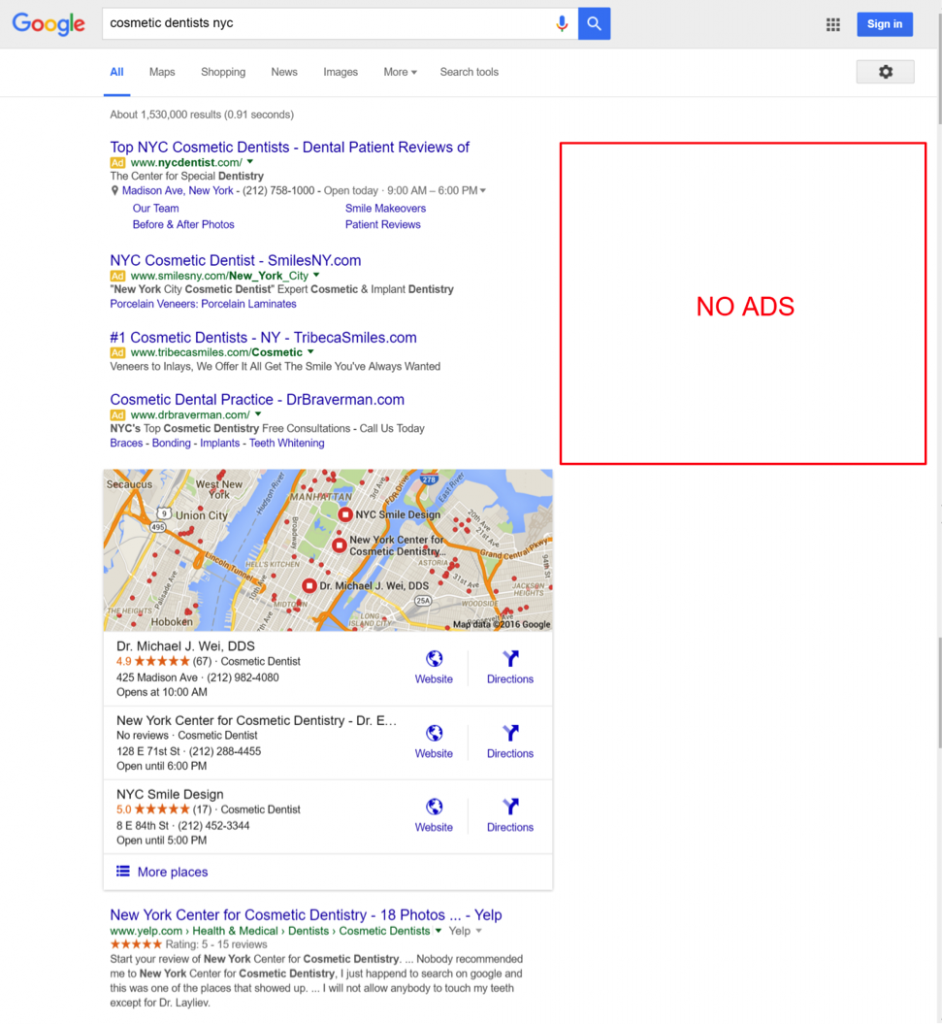 Screenshot of no right-side ads on Google