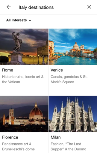 Google mobile travel search screenshot