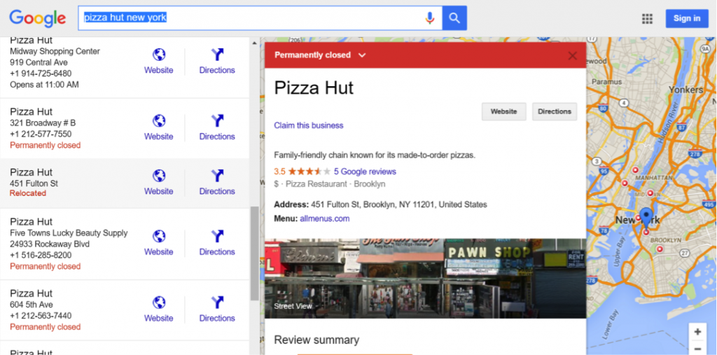 Screenshot of pizza hut relocation on Google